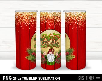 Skinny Tumbler Sublimation - Christmas Gnome with Gold Glitter - Merry & Bright