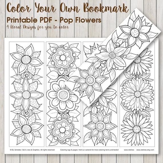 Printable PDF Bookmark Coloring with retro pop flower design, instant  download bookmark adult coloring hippie flowers by SLS Lines