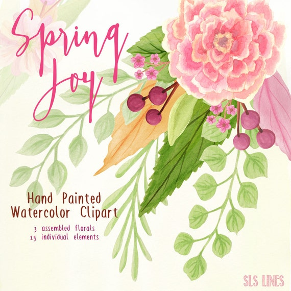 Watercolor flowers clipart spring flowers pink and green etsy image 0 mightylinksfo