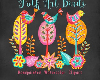 birds watercolor clipart - pink and blue bird graphics - trees and flowers - handpainted folk art watercolor clipart for commercial use