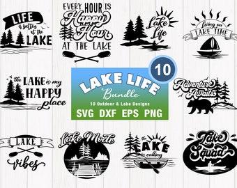 Lake Life SVG Bundle - Summer Lake, Cottage & Cabin Cut Files and PNG