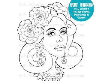 Pretty flower lady digital stamp, spring flowers digistamp and coloring page by SLS lines