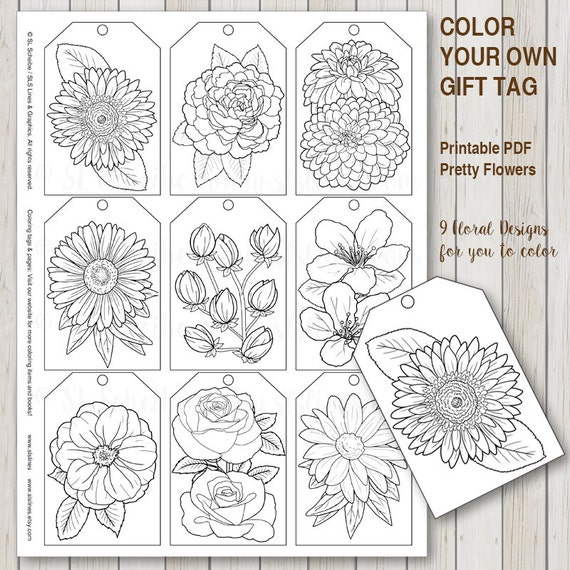 Printable Pdf Gift Tag Coloring With Flower Design Instant Etsy