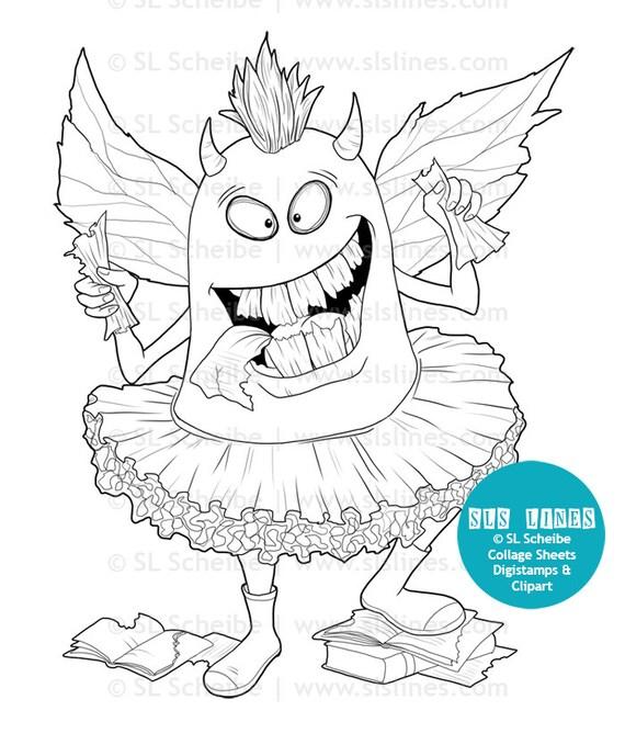 Devorador de libros de Monster monstruo digital libro amante | Etsy