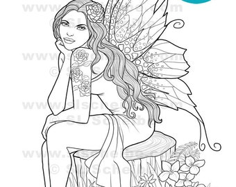 Digital stamp Garden Fairy Flower Fairy  instant download coloring page