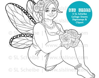 Chubby summer fairy digistamp, sweet fat fairy digital stamp big hair by SLS Lines, faerie coloring page