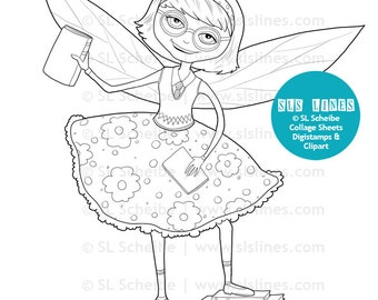 Book Fairy Digital stamp book lover library fairy, little girl with books digistamp, instant download, DIY greeting cards