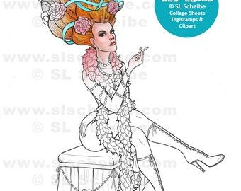 Digital Stamp burlesque adult dancer,  Instant Download, Dancer Digistamp