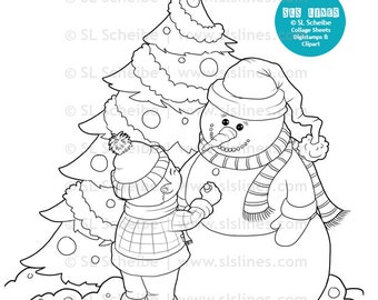 Christmas digistamp little boy and snowman with christmas tree, digital stamp coloring fun by SLS lines