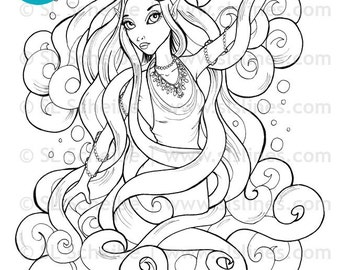 air fairy digital stamp with long flowing hair, fairy digistamp instant download coloring page