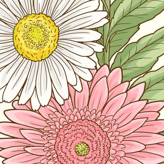 Gänseblümchen Clipart Digitale Margeriten Blüten Rosa Blumen Clipart Hochzeitseinladungen Florals Für Einladungen Diy Karten Blumen Grafik Set
