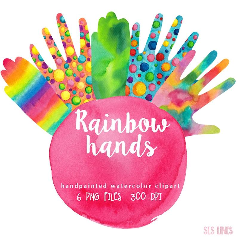 Rainbow hands clipart watercolor, colorful hand graphics, waving hands clip  art, digital Invitation DIY art