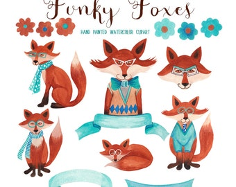 Fox watercolor clipart, trendy foxes graphics for commercial use, fox watercolor clip art set by SLS lines, handpainted clipart animals