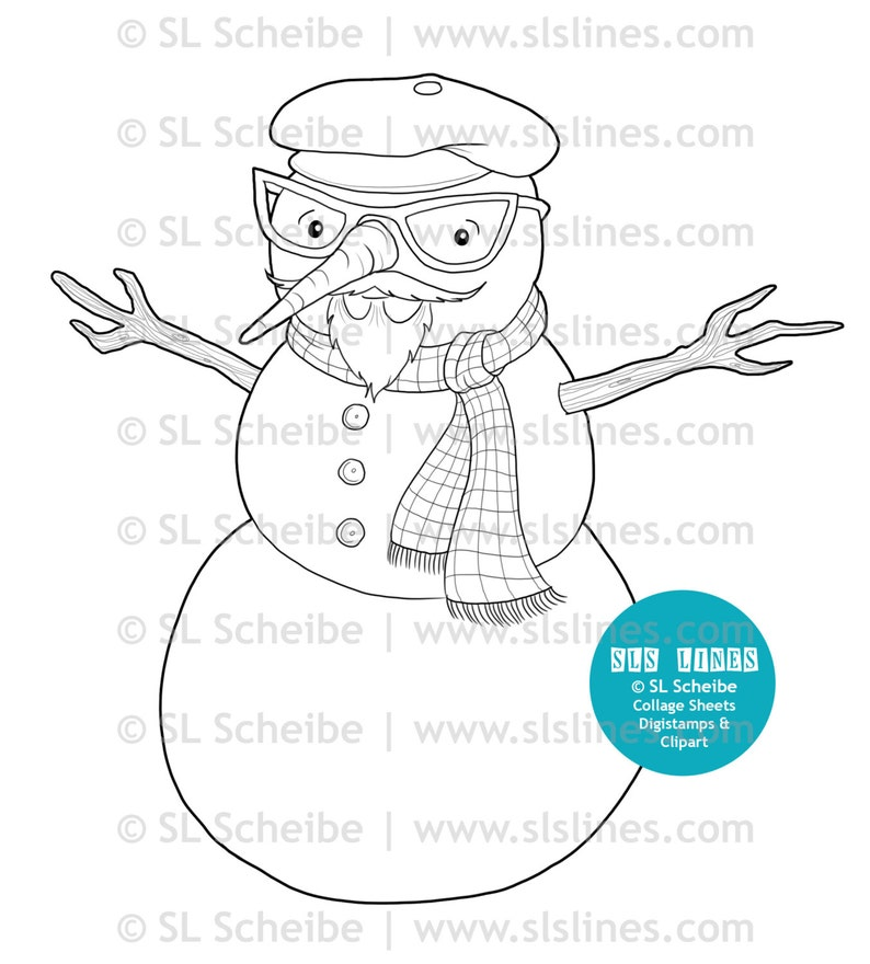 Beatnik hispter snowman digital stamp by SLS lines snowman digistamp coloring page christmas