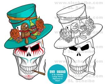 Digital stamp, Voodoo King Skull, Day of the Dead, digistamp, instant download