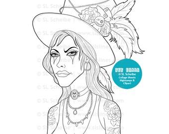 Voodoo Queen digital stamp, voodoo digistamp, Marie Laveau priestess stamp coloring page