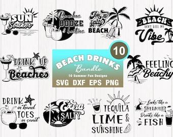 Beach Drinks SVG Bundle - Summer Beach Cut Files and PNG