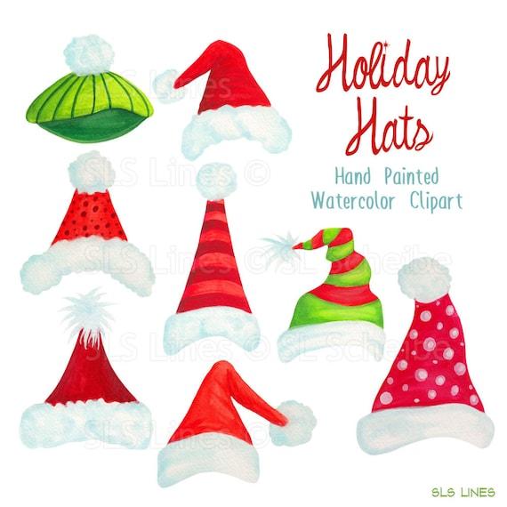 Christmas Holiday Clipart.Santa Hat Clipart Christmas Holiday Hats Graphics Handpainted Watercolor Christmas Clipart Xmas Hat Art By Sls Lines