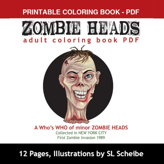 Pdf Adult Coloring Book Of Zombie Heads Coloring Pages Etsy