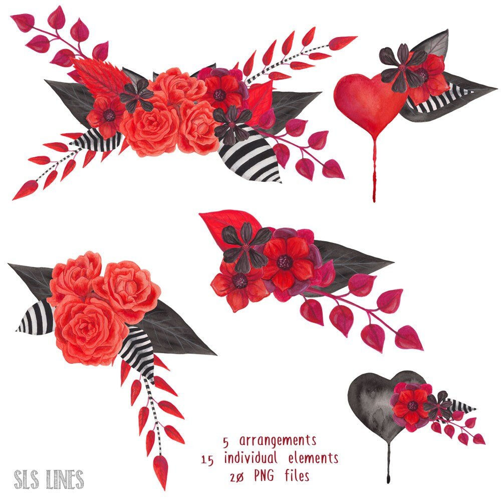 gothic watercolor floral clipart, black and red flowers, hand ...