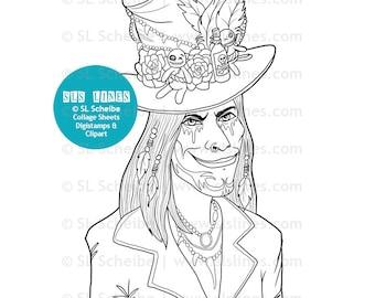 Digital stamp voodoo king, baron samedi digistamp, voodoo coloring page instant download, Lord midnight stamp