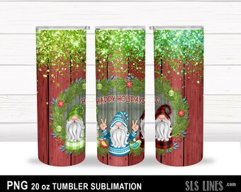 Skinny Tumbler Sublimation - Christmas Gnomes with Glitter - Happy Holidays