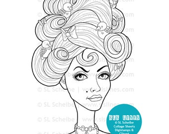 Marie Antoinette digital stamp, birds and ribbons in beehive hair digistamp and coloring page by SLS Lines