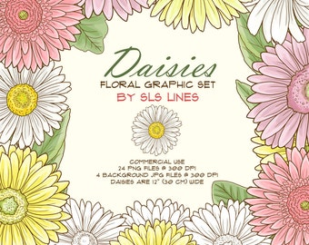 daisy clipart, daisies digital flowers, pink florals clip art, wedding invitations, florals for invites, DIY cards, flower graphic set
