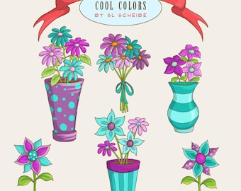 blue and purple flower clipart set, whimsical spring flowers clipart, instant download digital papercrafting commercial use