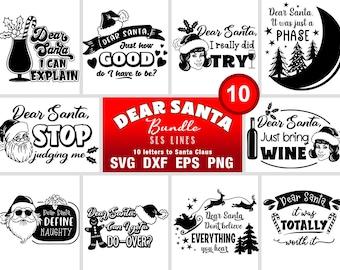 Dear Santa SVG Bundle - Funny Christmas Cut Files - Letters to Santa Claus SVG
