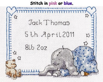 Counted cross stitch pattern, 'Sleepy Baby' birth sampler, PDF  digital download.