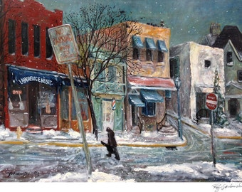 Pittsburgh Music Store, Guitar Player, Winter Scene, print in 2 sizes; painting by Ray Sokolowski.