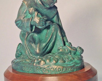 Fr. Silas, Franciscan Friar in China bronze sculpture; artwork by Ray Sokolowski.