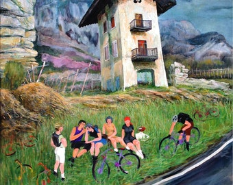 Italy, Italian Alps Landscape, Bicyclists, Brenner Pass; prints in 2 Sizes. Painting by Ray Sokolowski.