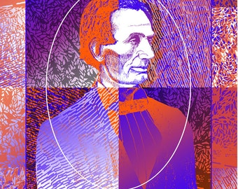 President Abraham Lincoln decorative portrait print in 2 sizes, drawing by Kathy Rooney