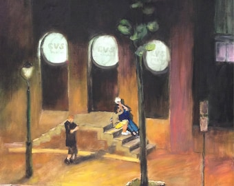 Philadelphia Night Scene, Head House Square, 2nd St. & Lombard St., CVS Drug Store, Prints in 3 Sizes, Painting by Ray Sokolowski