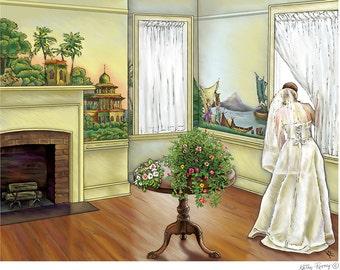 Wedding Day Bride Print at Oglebay, West Virginia, print in 2 sizes, drawing by Kathy Rooney
