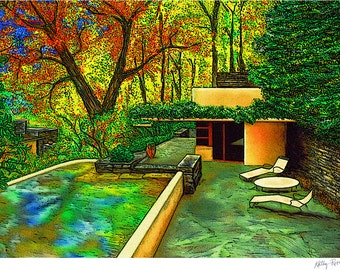 Frank Lloyd Wright Fallingwater™ Guest House, Laurel Mountains, PA print in 3 sizes, drawing by Kathy Rooney