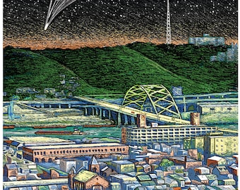 Pittsburgh Landscape, South Side Starry Night Sky Comet print in 2 sizes; drawing by Kathy Rooney