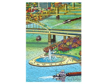 Pittsburgh Landscape Point Boats, 3 Rivers Greeting Card by Kathy Rooney