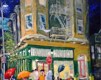 San Francisco, California, Clement Street; Rainy Night Scene; prints in 2 sizes; painting by Ray Sokolowski