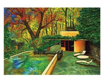 Frank Lloyd Wright Fallingwater Guest House, Pennsylvania Greeting Card by Kathy Rooney