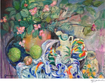Still Life with Monkey Balls, Hedge Apples, Osage Oranges, Begonia and Mums; Fall Flowers, Prints in 3 sizes; Painting by Ray Sokolowski