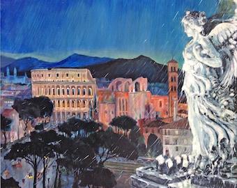 Rome, Italy Landscape, Colosseum, Vittorio Emanuele Angel Rainy Night street scene; print in 3 sizes, painting by Ray Sokolowski.