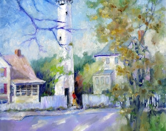 Fenwick Island, Delaware Lighthouse; print in 2 sizes; painting by Ray Sokolowski.