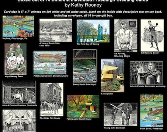 Pittsburgh History, Landmarks & Sports Boxed Set of 16 Greeting Cards by Artist, Kathy Rooney