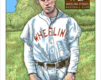 Pittsburgh Baseball History Remembered, Art Rooney, Wheeling Stogie West Virginia Baseball Player print, 2 sizes, drawing by Kathy Rooney