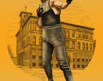 Pittsburgh Boxing History, Irish Sports Boxing, Art Rooney 1920 Style Poster in 3 sizes; Illustration by Kathy Rooney