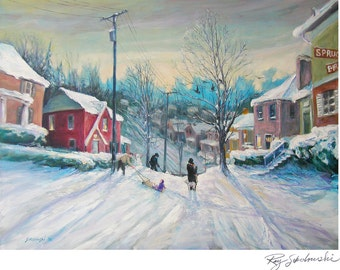 Pittsburgh Landscape, Snow Day, boy on sled; dog print in 2 sizes; painting by Ray Sokolowski