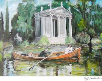 Rome, Italy, Villa Borghese Lake, print; painting by Ray Sokolowski